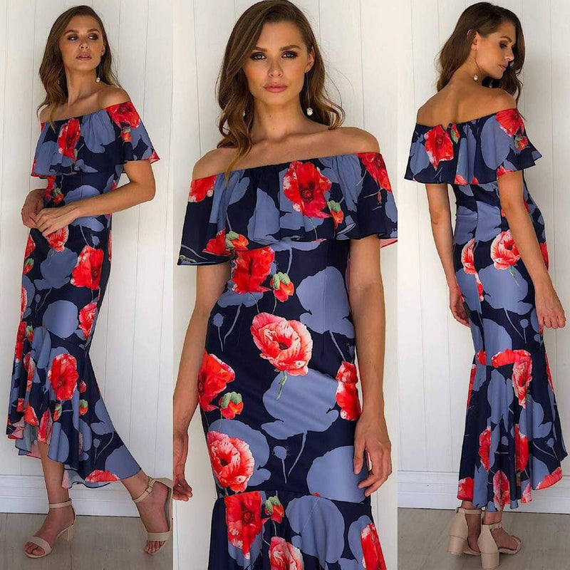 LUNA FLORAL DRESS IN NAVY - Two Sisters Instyle