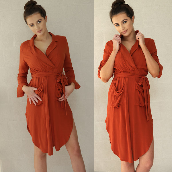 SHACHA DRESS- BURNT ORANGE - Two Sisters Instyle
