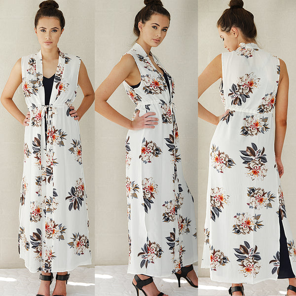 VANITY FLORAL MAXI KIMONO IN WHITE - Two Sisters Instyle