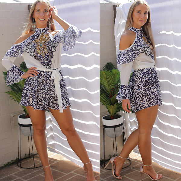 NOWADAYS KAFTAN PLAYSUIT IN BLUE - Two Sisters Instyle