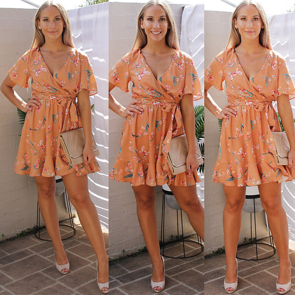 WISHING FLORAL DRESS IN ORANGE - Two Sisters Instyle