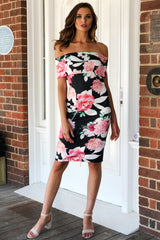 LOVE FLORAL BODYCON DRESS IN BLACK - Two Sisters Instyle