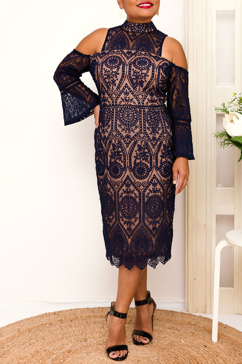 Cold Shoulder high neck style navy lace dress
