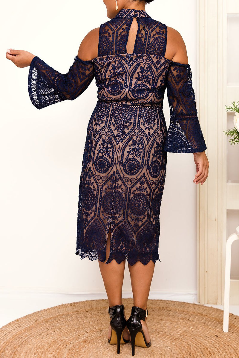 lace overlay bell sleeves navy dress