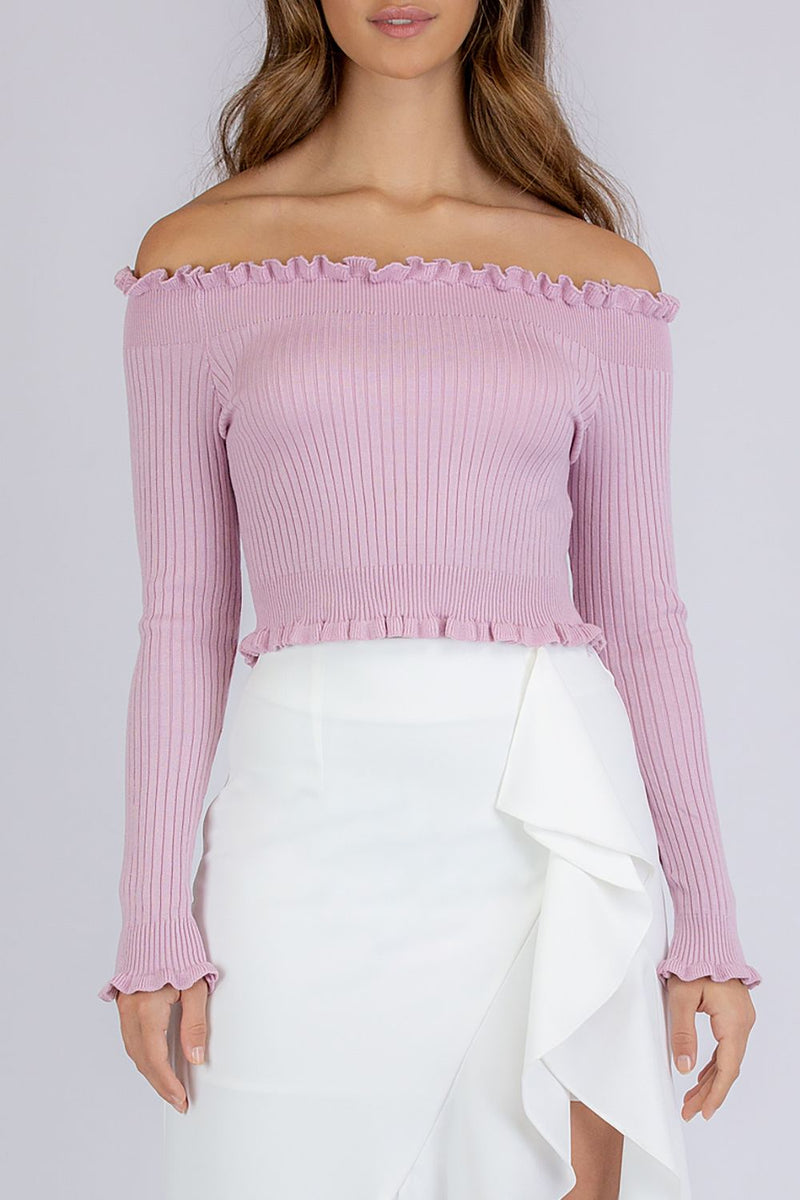AINSLEY OFF THE SHOULDER CROP TOP -BLUSH - Two Sisters Instyle