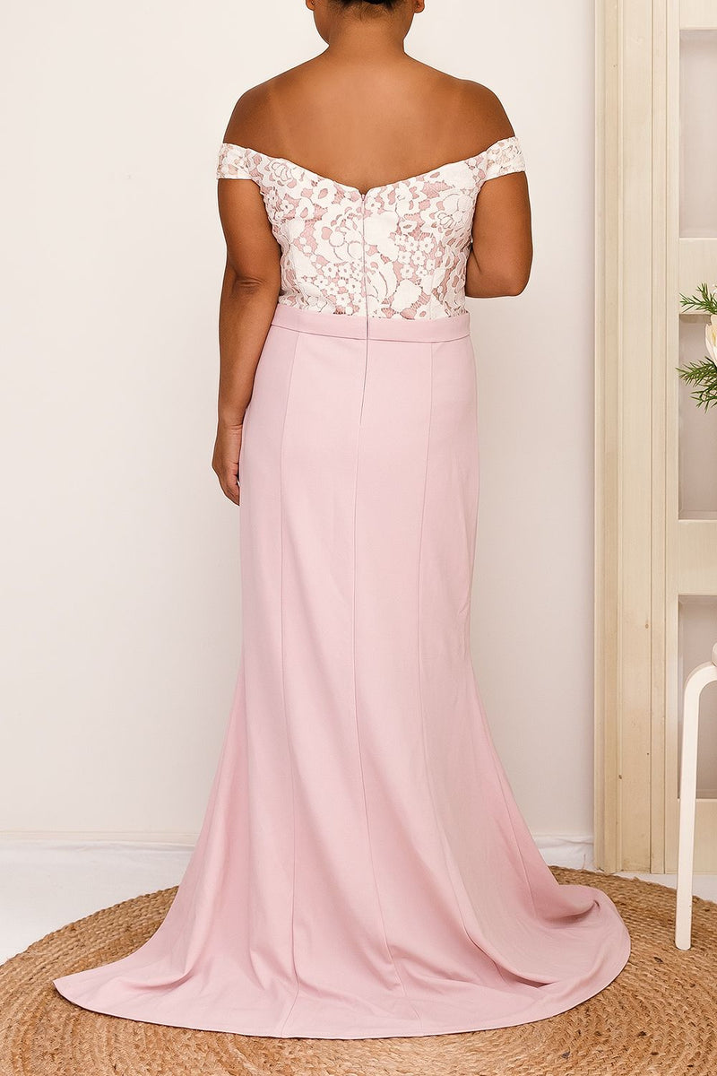 ALEXA OFF-THE-SHOULDER DRESS - PINK - Two Sisters Instyle