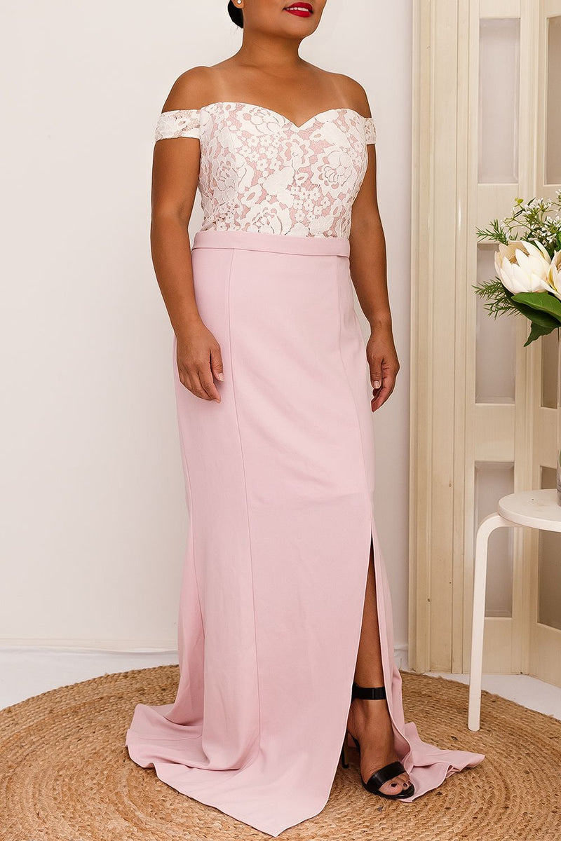 ALEXA OFF-THE-SHOULDER DRESS IN PINK - Two Sisters Instyle