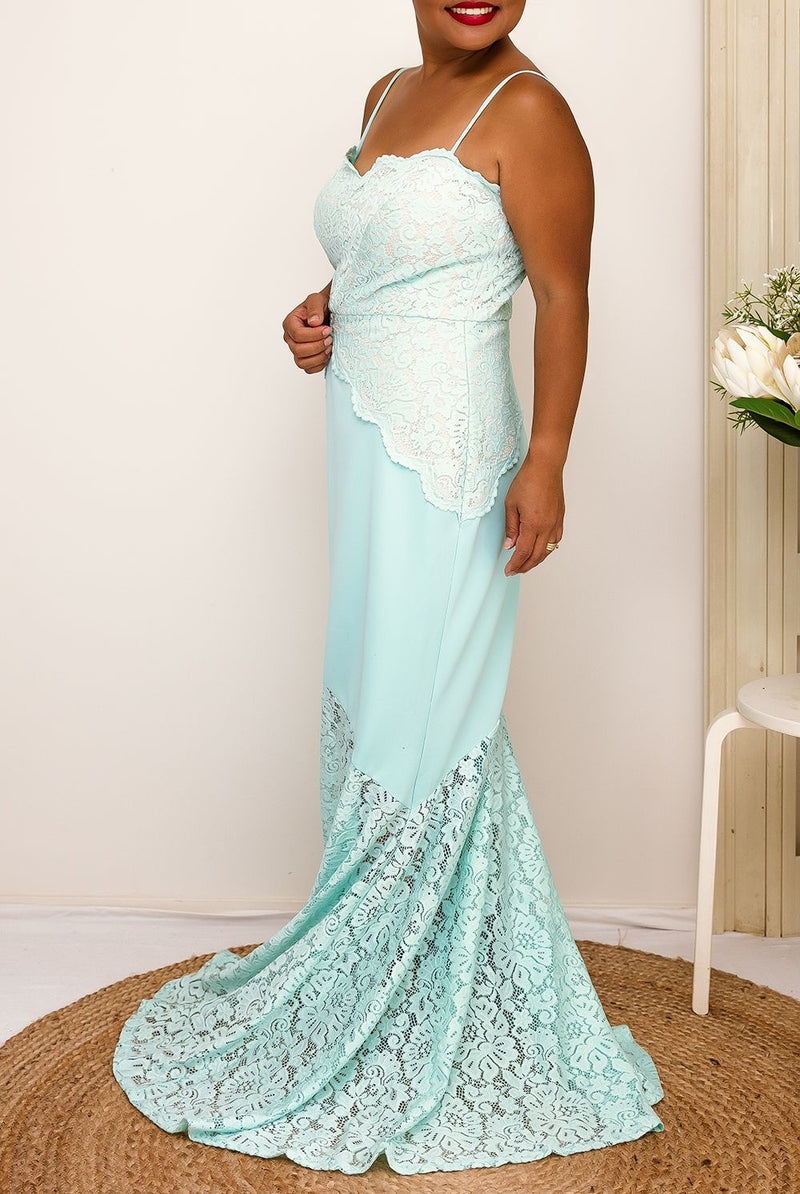 mint formal down floor length lace