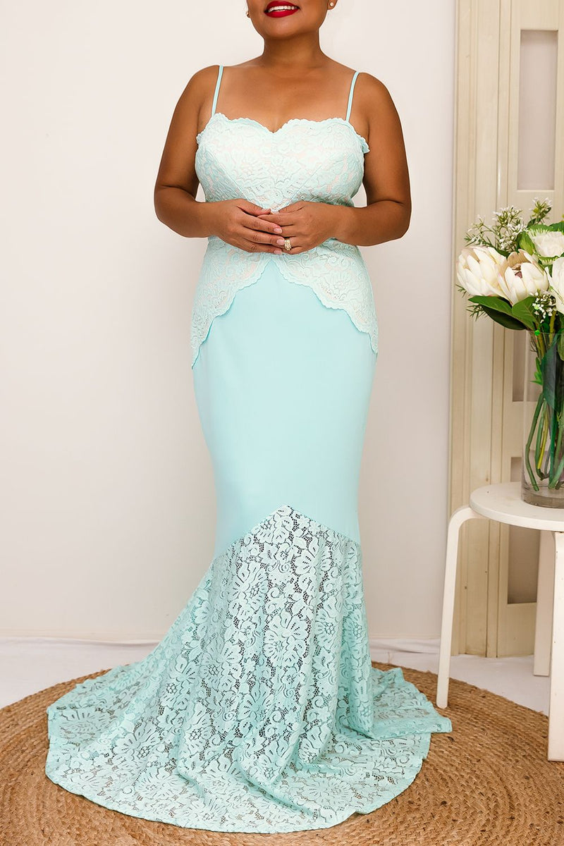 mint lace floor length prom formal maxi dress