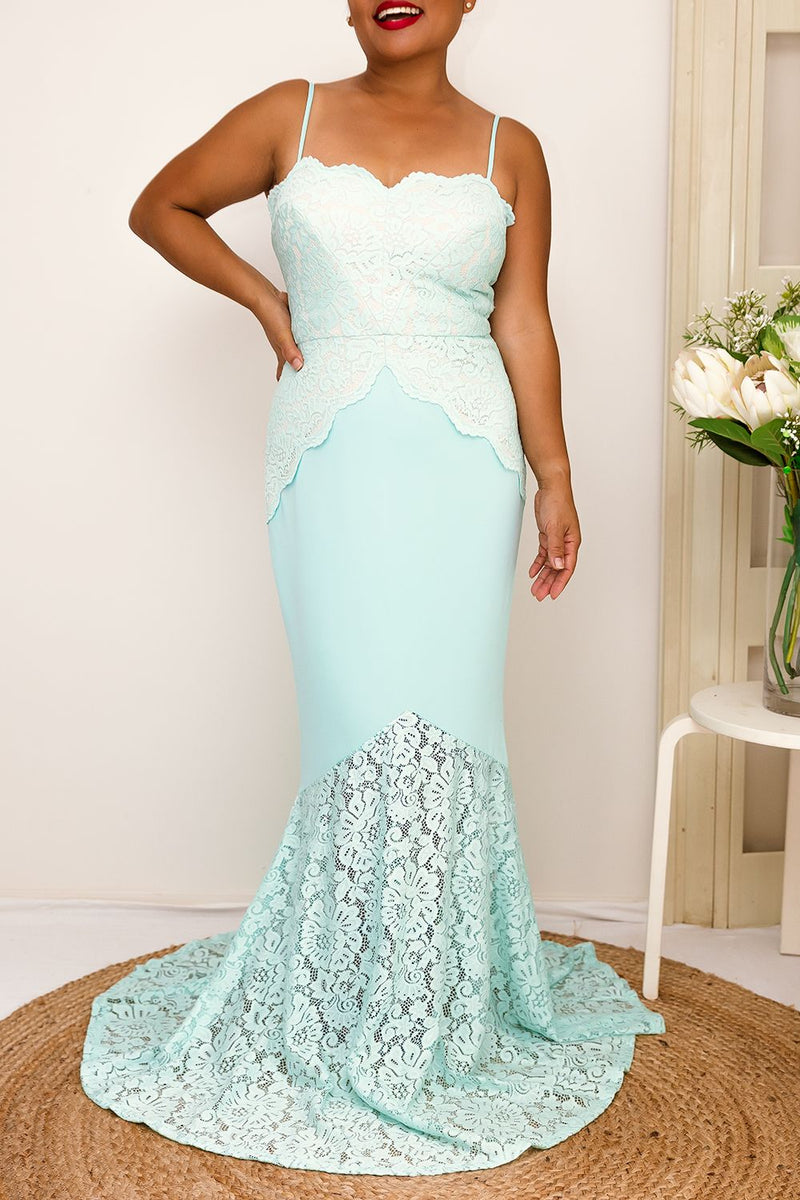lace mint maxi floor length dress prom dress