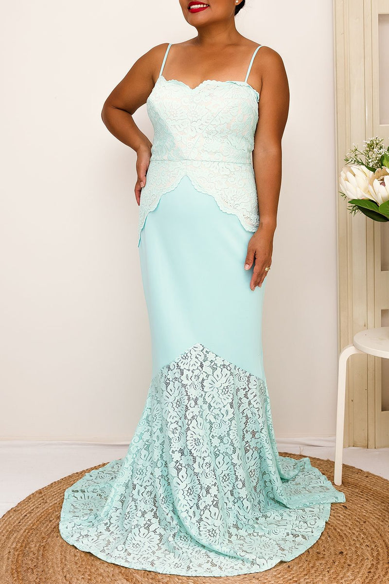 adjustable straps scalloped neckline mint lace formal dress