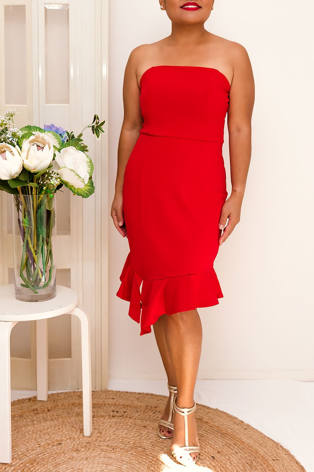 AMALIA FRILL PEPLUM DRESS-RED - Two Sisters Instyle