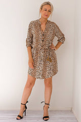 ALESSA LEOPARD TUNIC DRESS- MOCHA - Two Sisters Instyle