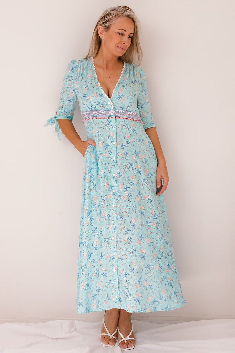 maxi ice blue floral dress