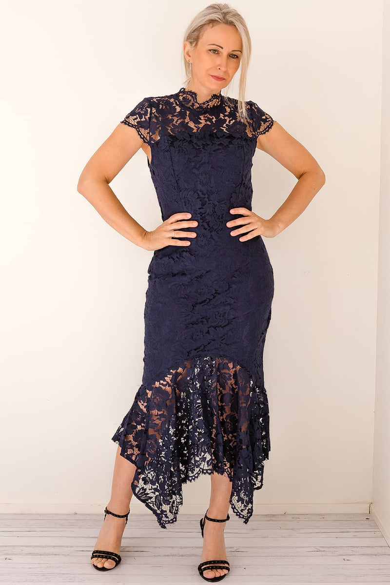 navy lace dress high neck