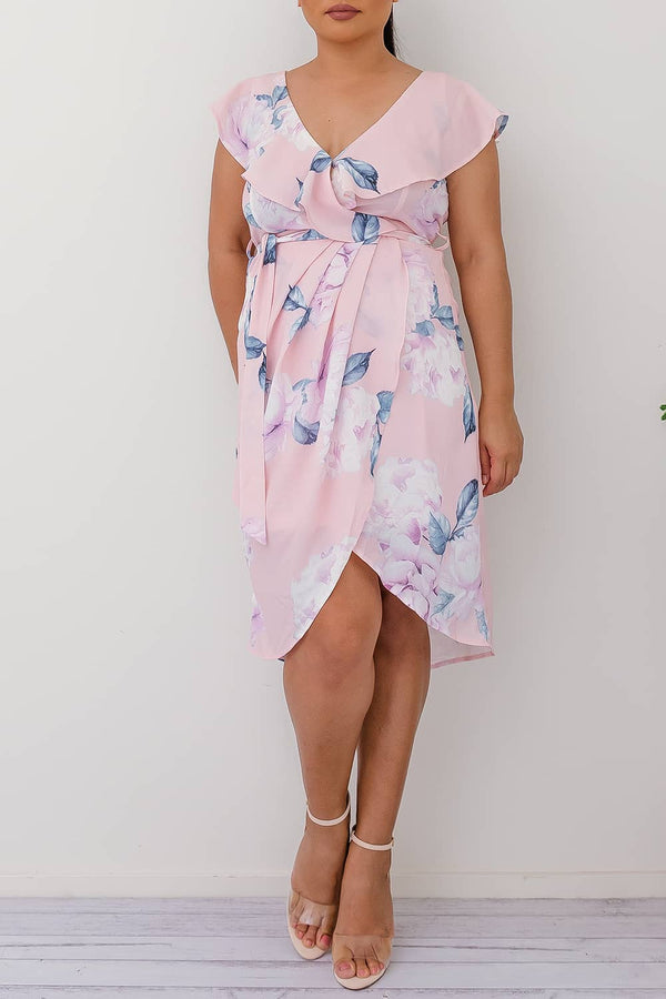 ASHLEIGH FLORAL DRESS-PINK - Two Sisters Instyle