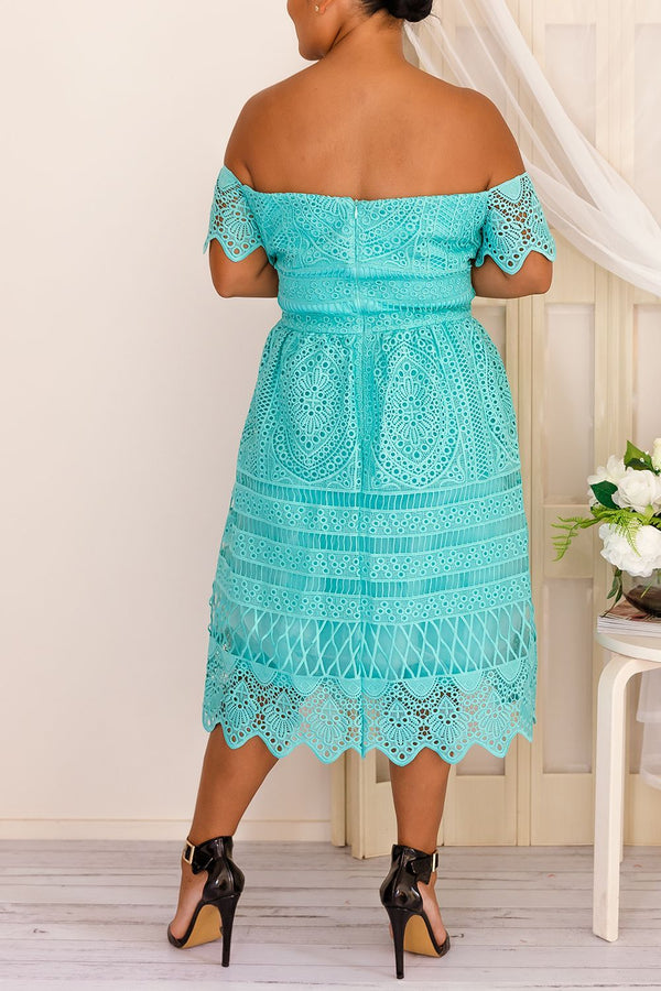 BELLE OFF THE SHOULDER DRESS- BLUE - Two Sisters Instyle