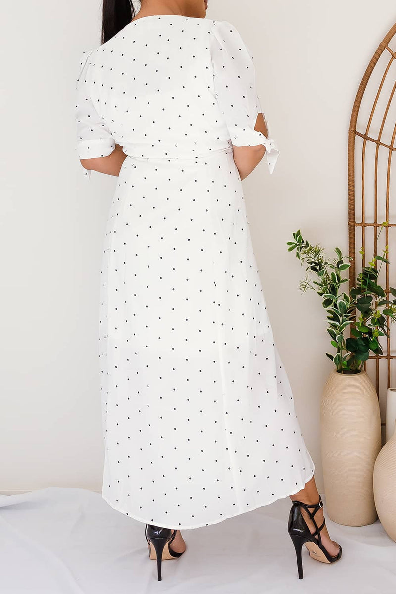 NATALLIA POLKA DOT WRAP DRESS - Two Sisters Instyle