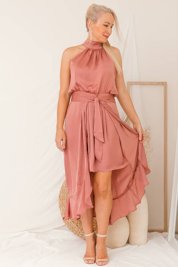 overlay dusty pink dress halter neck