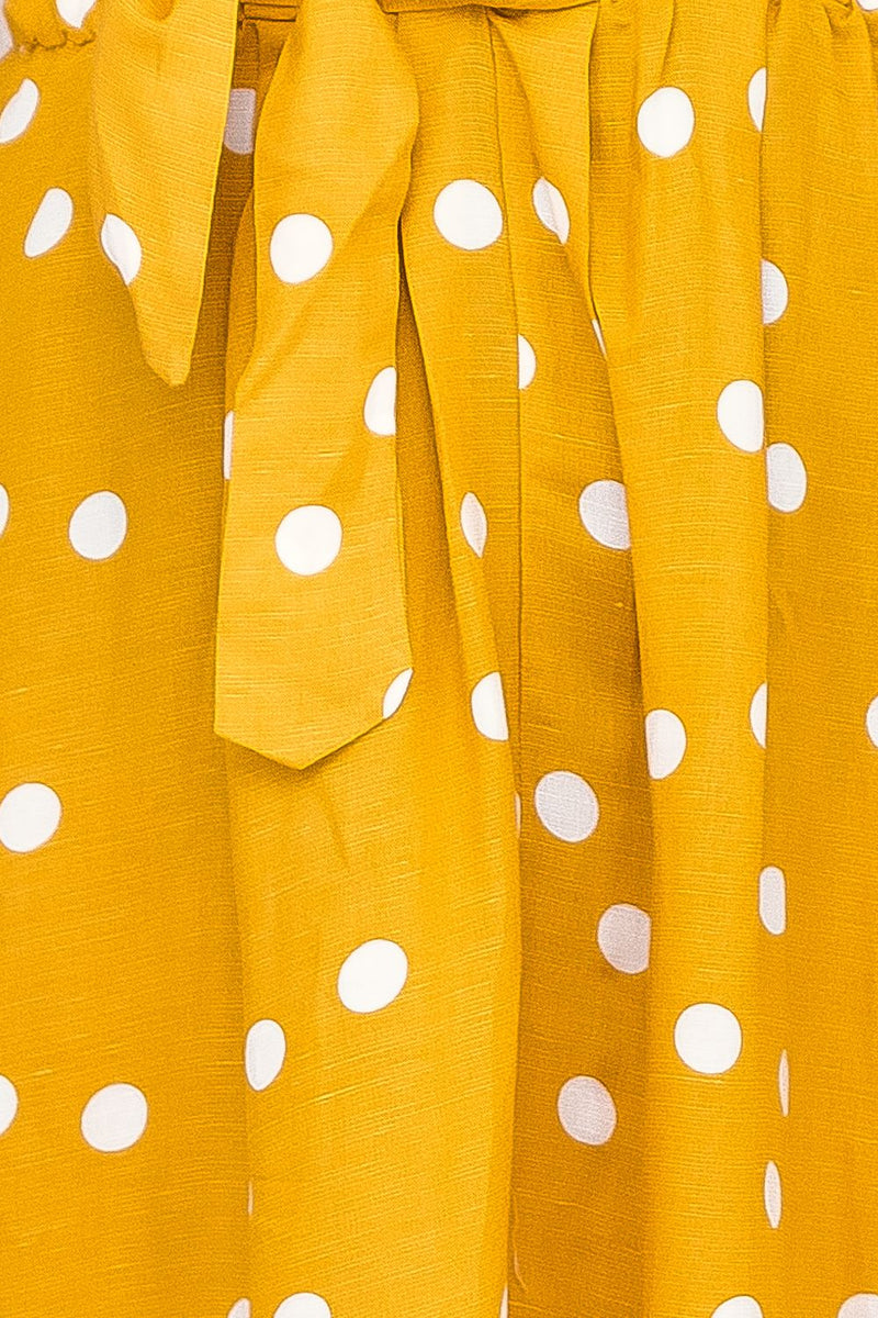 BELLE  POLKA DOT MAXI DRESS-MUSTARD - Two Sisters Instyle