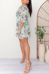 dress floral tiered mini dress