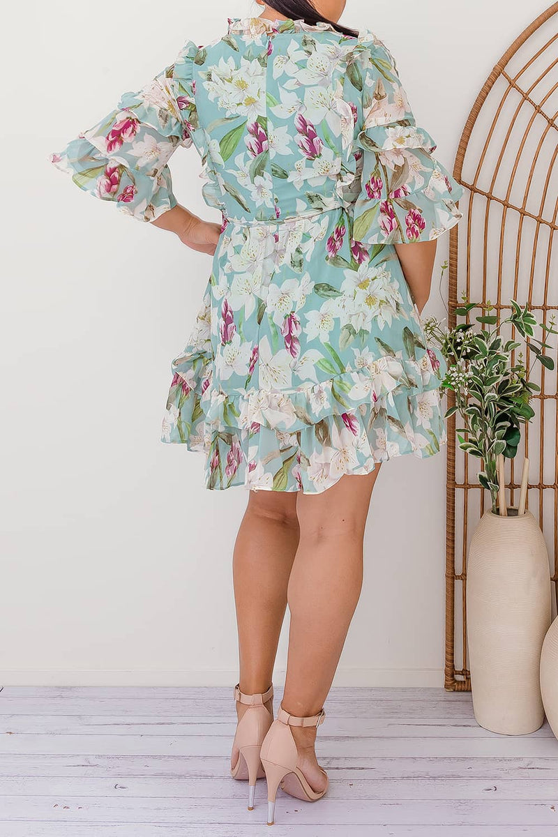 ELLE MINI FLORAL DRESS - GREEN I Two Sisters Instyle