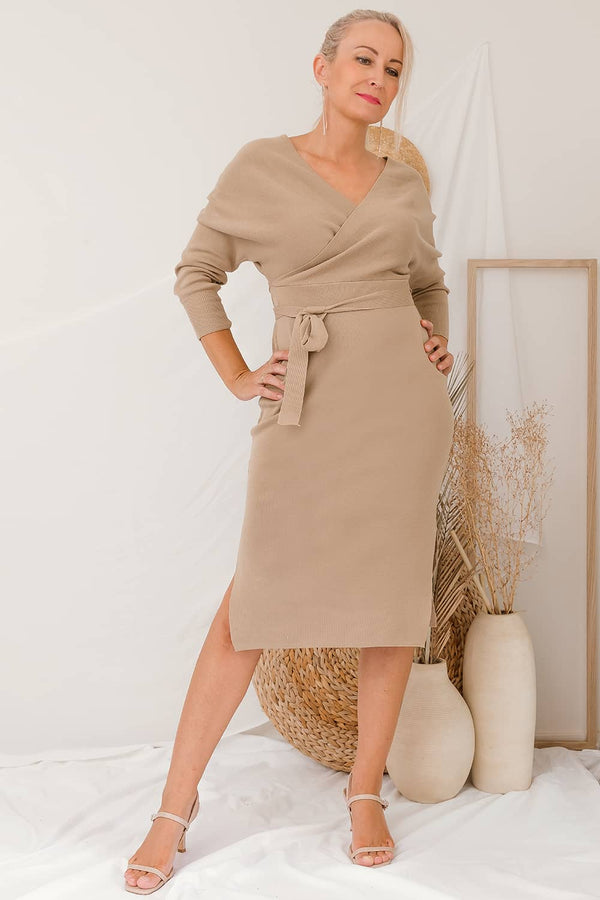 ELLIE KNIT DRESS - MOCHA - Two Sisters Instyle
