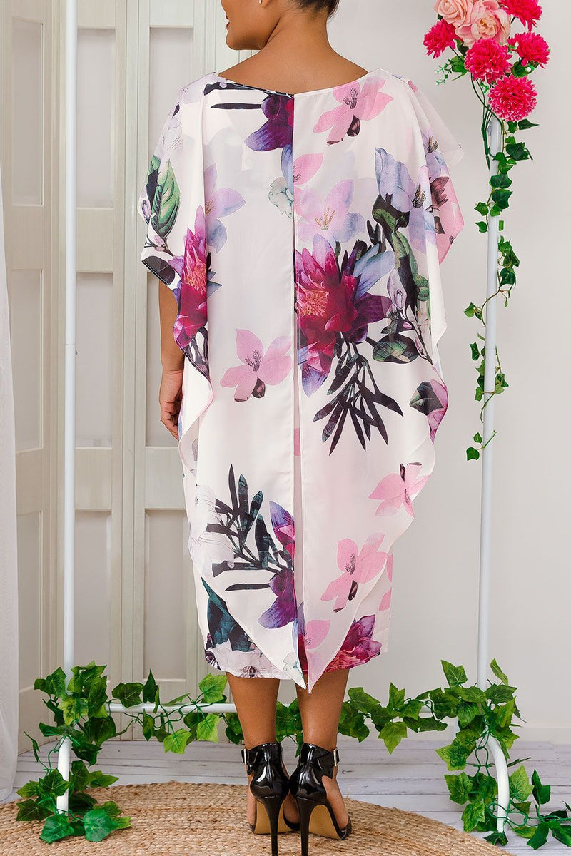 chiffon overlay pink floral dress knee length ployester