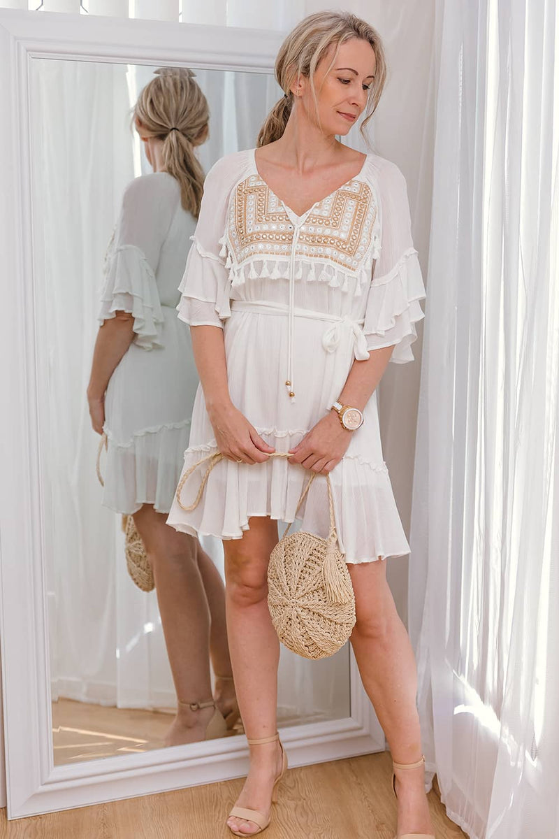 FLORENCIA DRESS- WHITE - Two Sisters Instyle