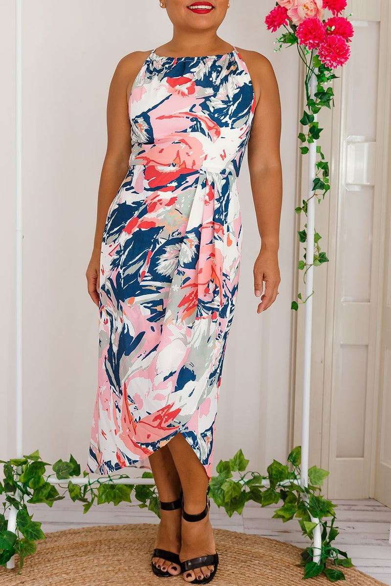 high neckline racer back tulip navy dress