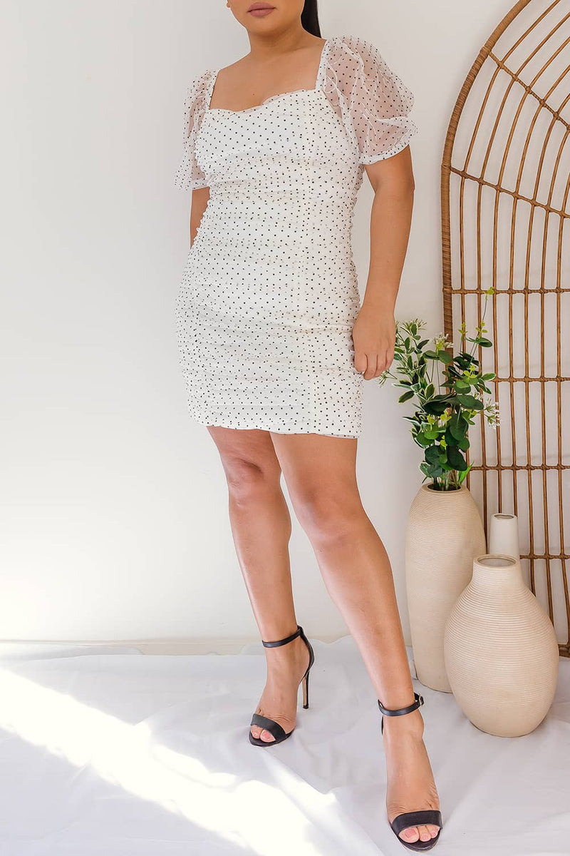 Polka dot mesh ruched dress mini
