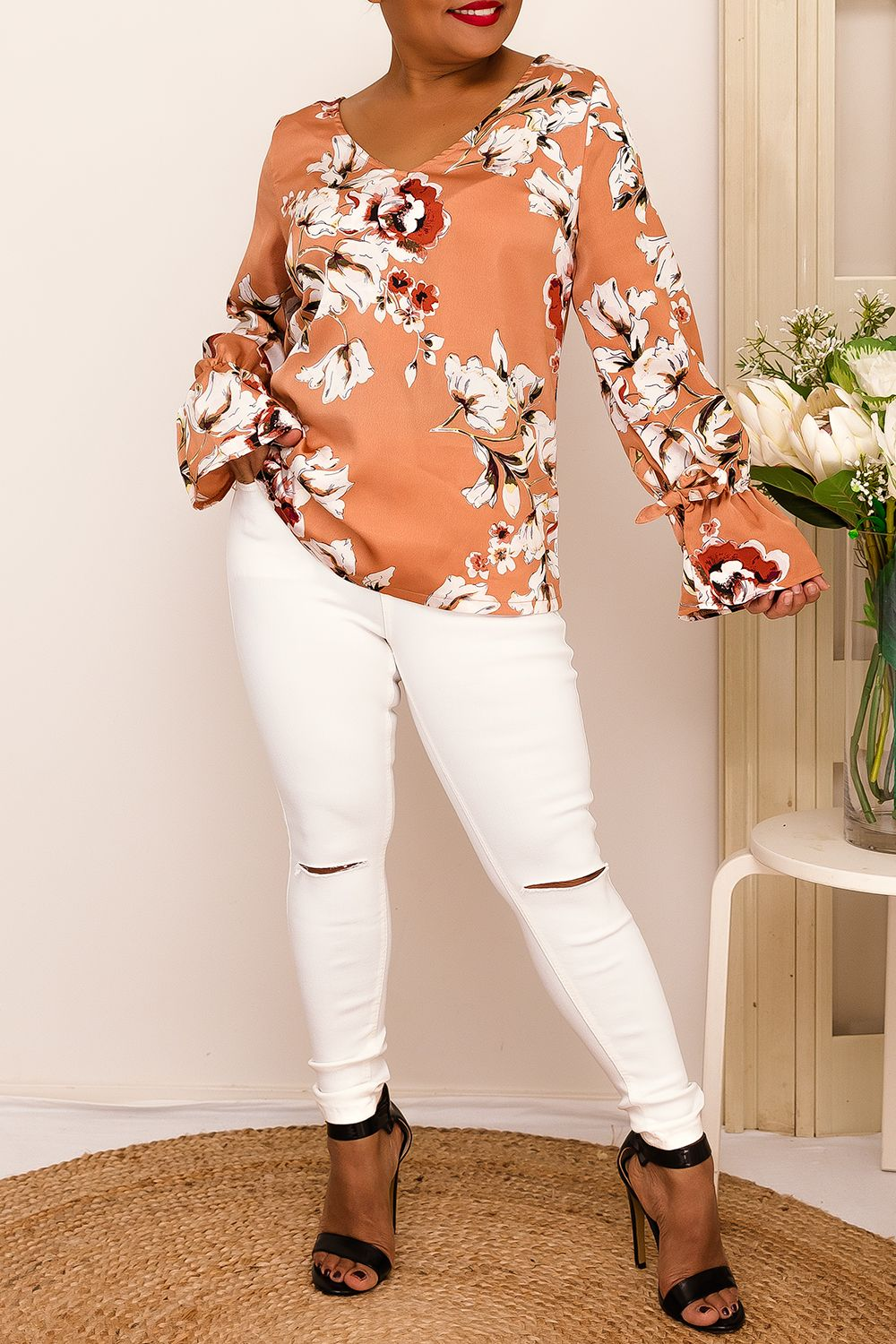 floral salmon  long sleeve top