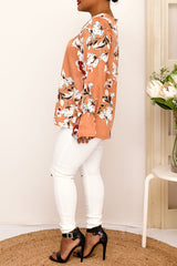 ADRIA FLORAL TOP-SALMON - Two Sisters Instyle