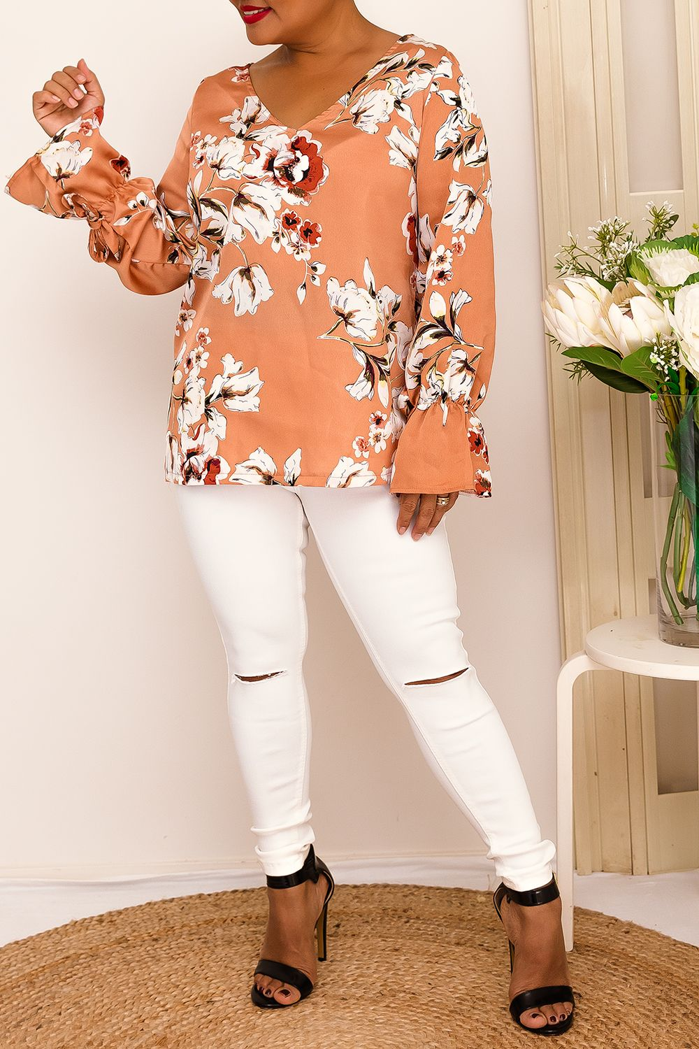 ADRIA FLORAL TOP-SALMON- Two Sisters Instyle