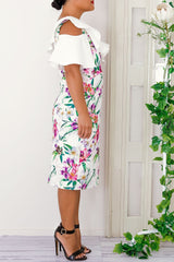 ISABEL MIDI FLORAL DRESS-WHITE - Two Sisters Instyle
