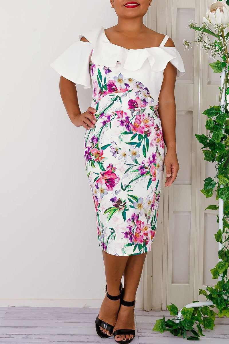 Isabel Floral Dress-White - Two Sisters Instyle