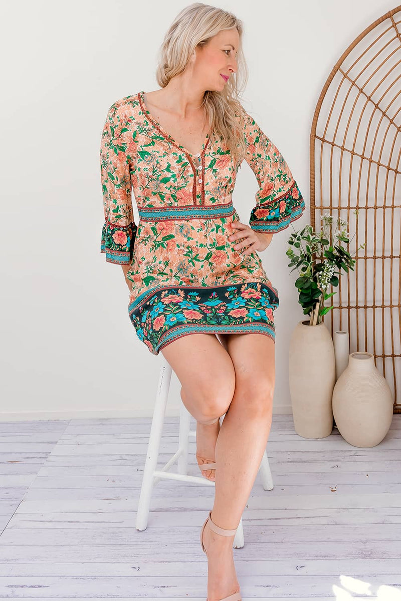 ISMAY BOHO DRESS - BLUE - Two Sisters Instyle