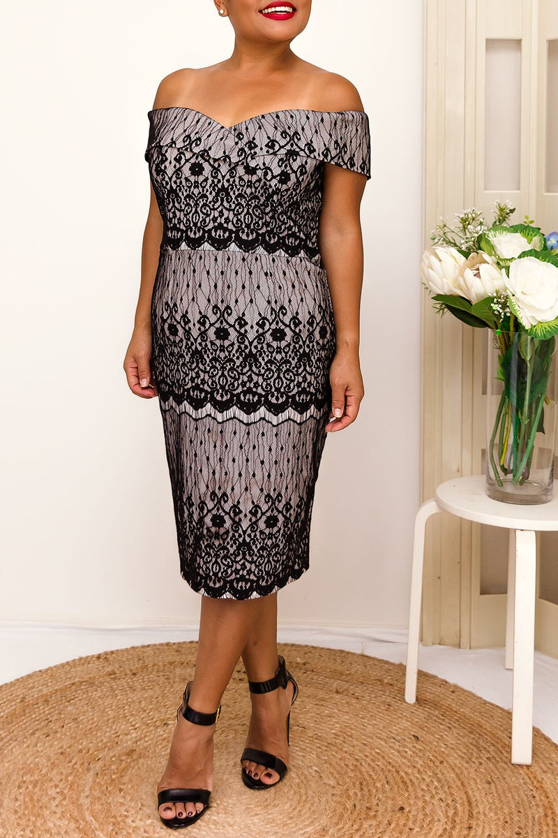 black lace sweetheart neckline off the shoulder dress