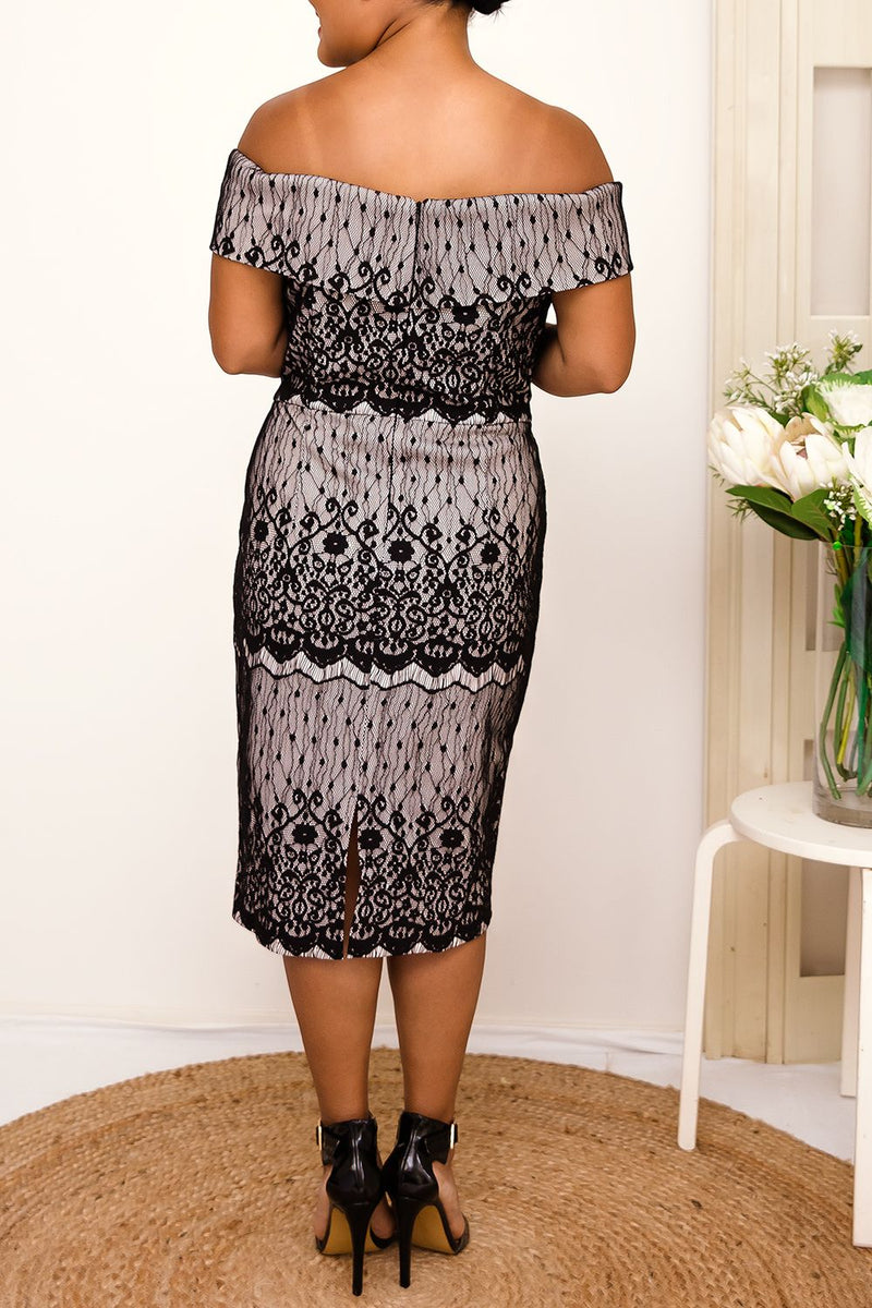 black sweetheart neckline lace midi dress