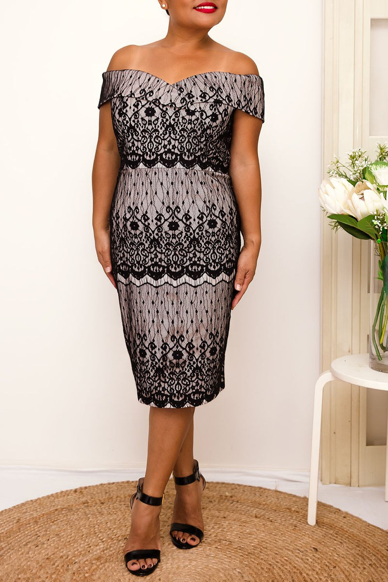 Gorgeous black lace overlay with beige lining sweetheart neckline dress