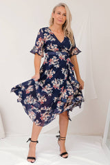 JASMINE FLORAL WRAP DRESS-NAVY - Two Sisters Instyle
