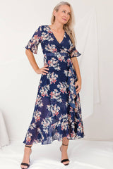 wrap navy dress floral