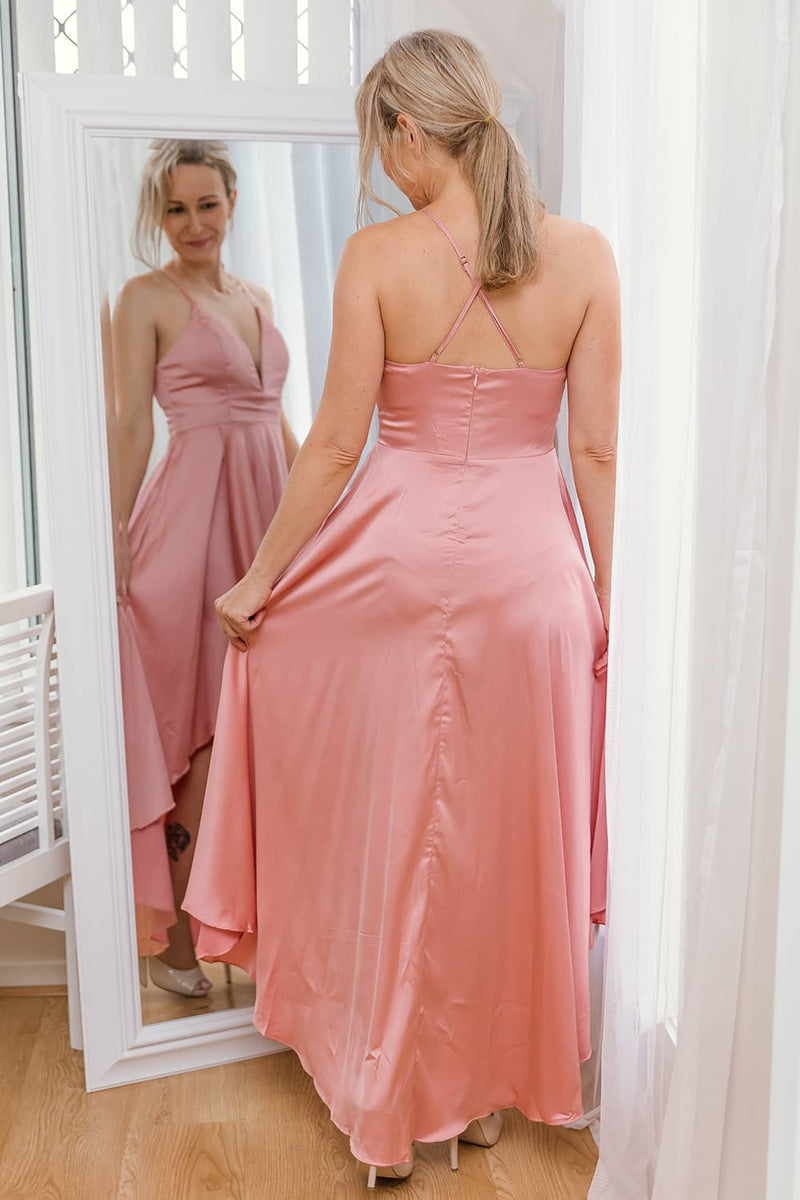 JAZ HIGH LOW DRESS IN PINK - Two Sisters Instyle