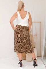 JUNIE WRAP SKIRT -MOCHA LEOPARD - Two Sisters Instyle