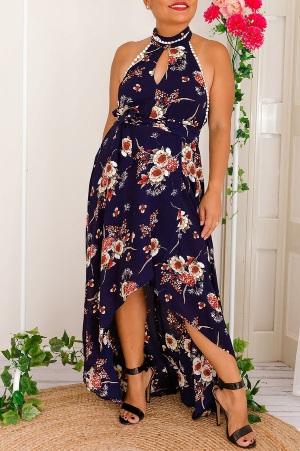 KASMIRA HALTER FLORAL DRESS-NAVY - Two Sisters Instyle