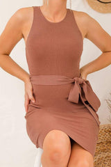kiana midi knit dress chocolate