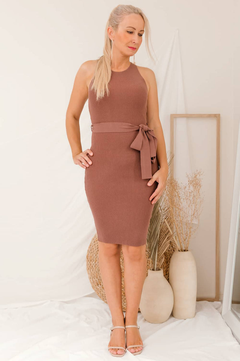KIANA MIDI KNIT DRESS - COFFEE