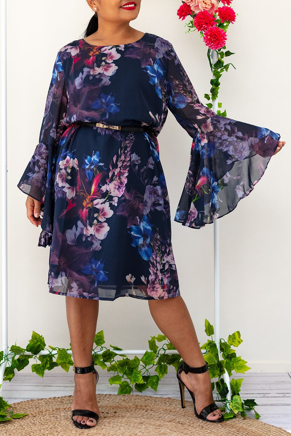 Ruffle Sleeves Floral Midi Fully lined dress blue navy