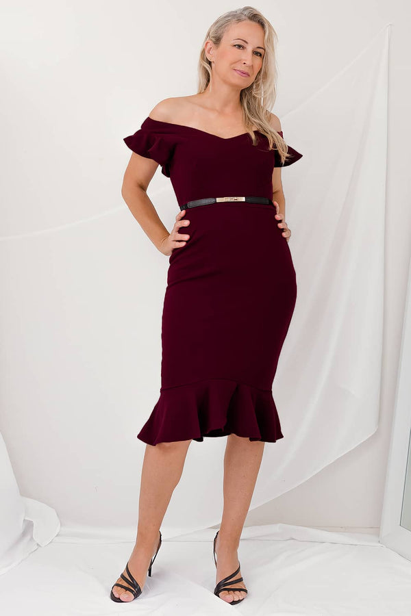 Frill Evening Dress V Neckline Maroon Burgundy