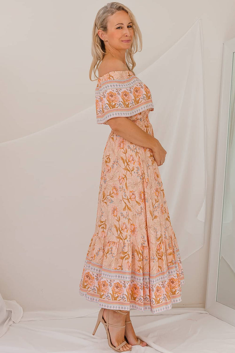 LYSA FLORAL BOHO DRESS - PEACH I Two Sisters Instyle